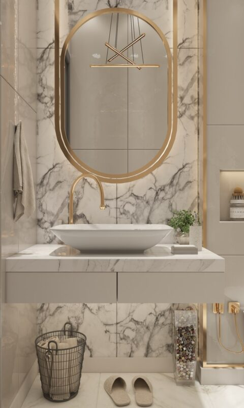 Дизайн интерьера ванной комнаты - зеркала