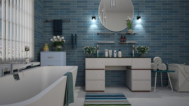 Дизайн интерьера ванной комнаты в синем цвете