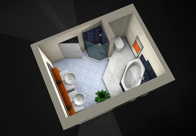 Дизайн интерьера ванной комнаты - 3d план