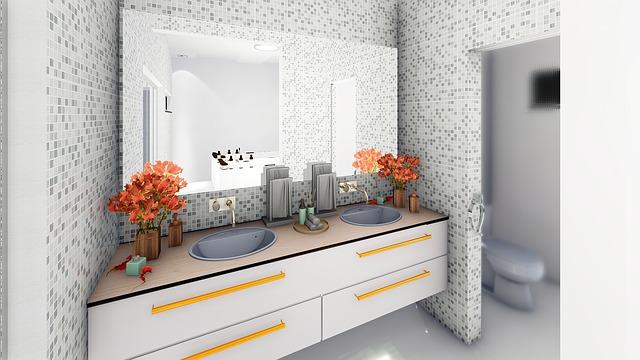 Дизайн интерьера ванной комнаты - светлая мозаика