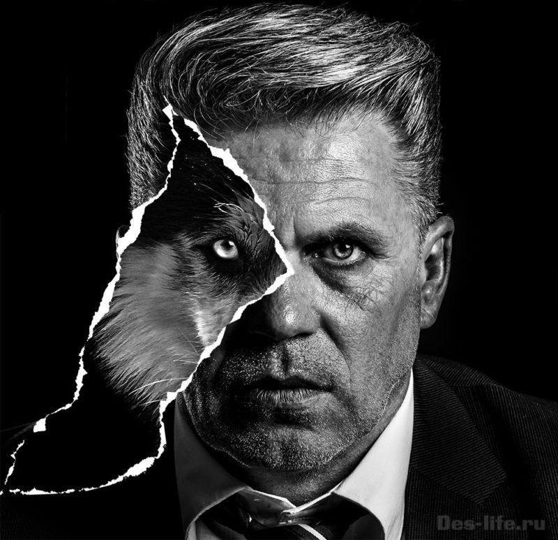 Черно белый арт на рваной бумаге в Photoshop