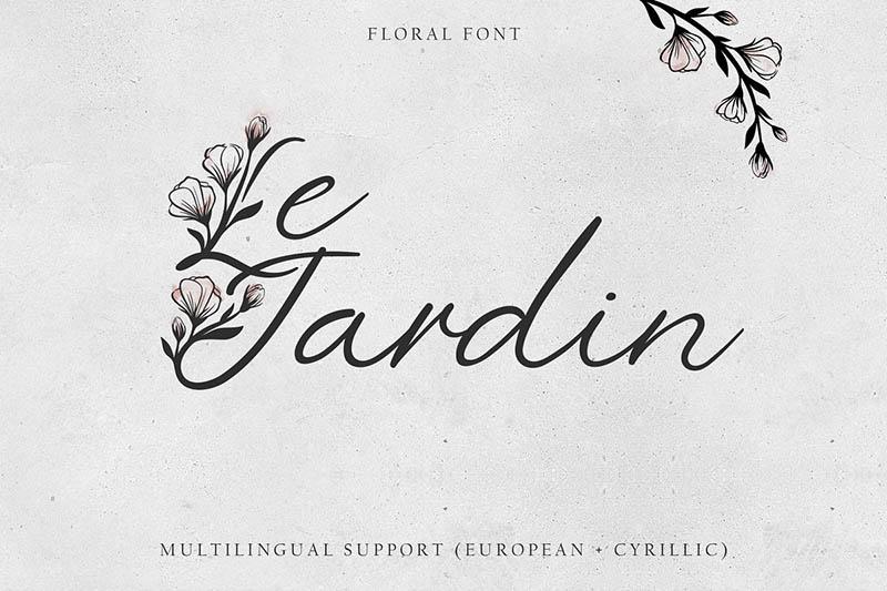 'Le Jardin' Floral Font (латиница + кириллица)