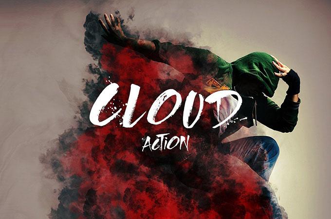 Бесплатный Cloud Action для Photoshop – цветные облака