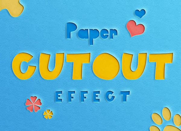 Бесплатные текстовые эффекты Photoshop - вырезанный из бумаги текст