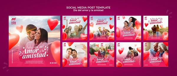 Бесплатные шаблоны на день святого Валентина - Инстаграм посты