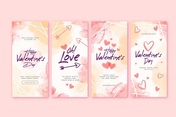 Бесплатные шаблоны на день святого Валентина - Инстаграм строись