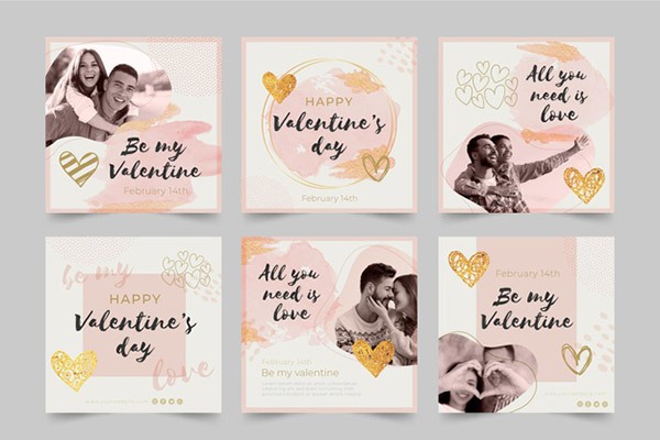 Бесплатные шаблоны на день святого Валентина - Инстаграм посты и stories