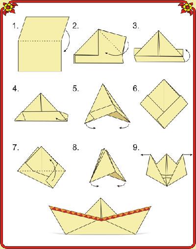 схема кораблик оригами