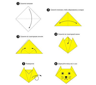 схема котик оригами