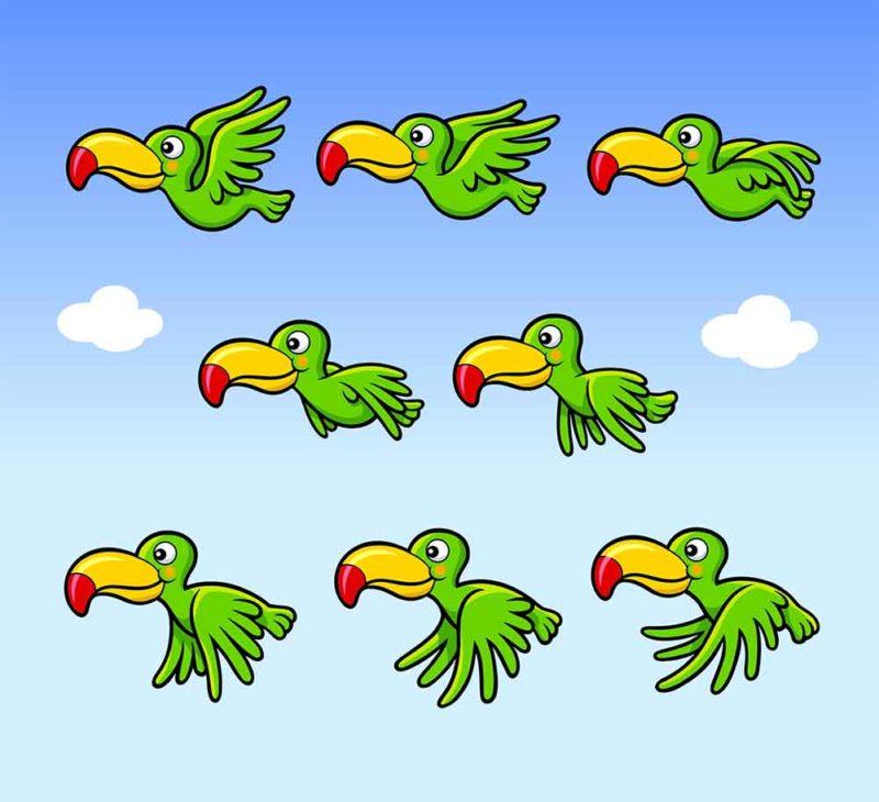 Коллекция шаблонов анимации зверей и птиц