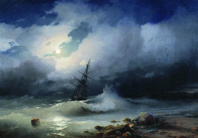 Бурное море ночью Айвазовский